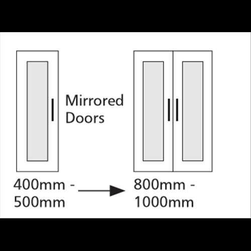 Double Door Mirrored Single Hanging Unit 2 Shelf - Bretton Park