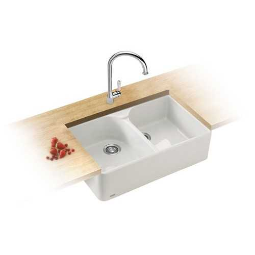 Franke VBK720 Double Bowl Ceramic White Belfast