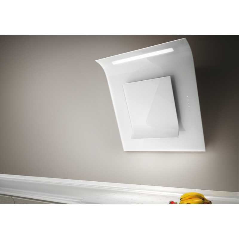 elica 80cm leaf wall mounted decorative cooker hood white glass