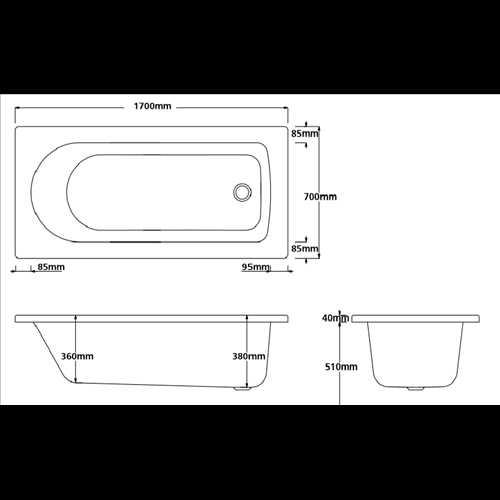 Lavenham Straight square single ended acrylic bath (no tap holes)