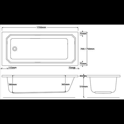 Gruildlea Single ended acrylic bath (no tap holes)