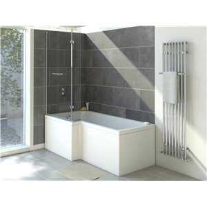 Clovelly L shaped acrylic shower bath (no tap holes)