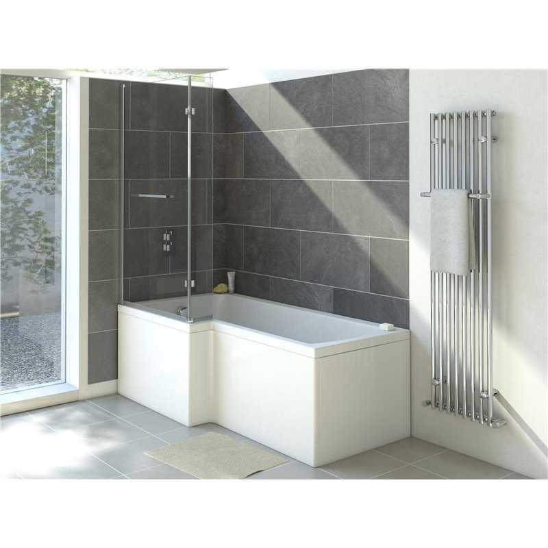 Clovelly L shaped acrylic shower bath (no tap holes)