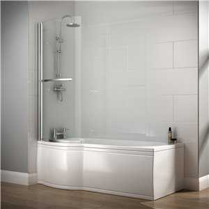 Saltaire P Shaped acrylic shower bath (no tap holes)