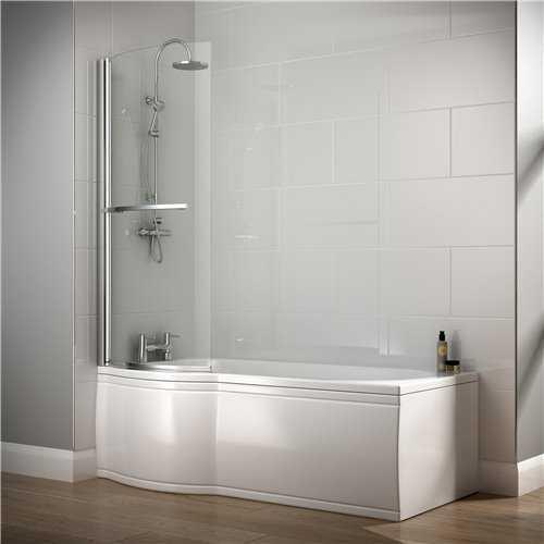 Saltaire P Shaped Acrylic Shower Bath (No Tap Holes) - Bretton Park