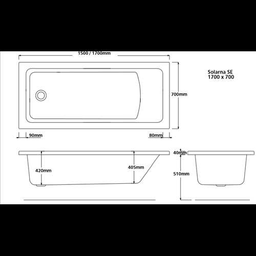 Lynton Square single ended acrylic bath (no tap holes)