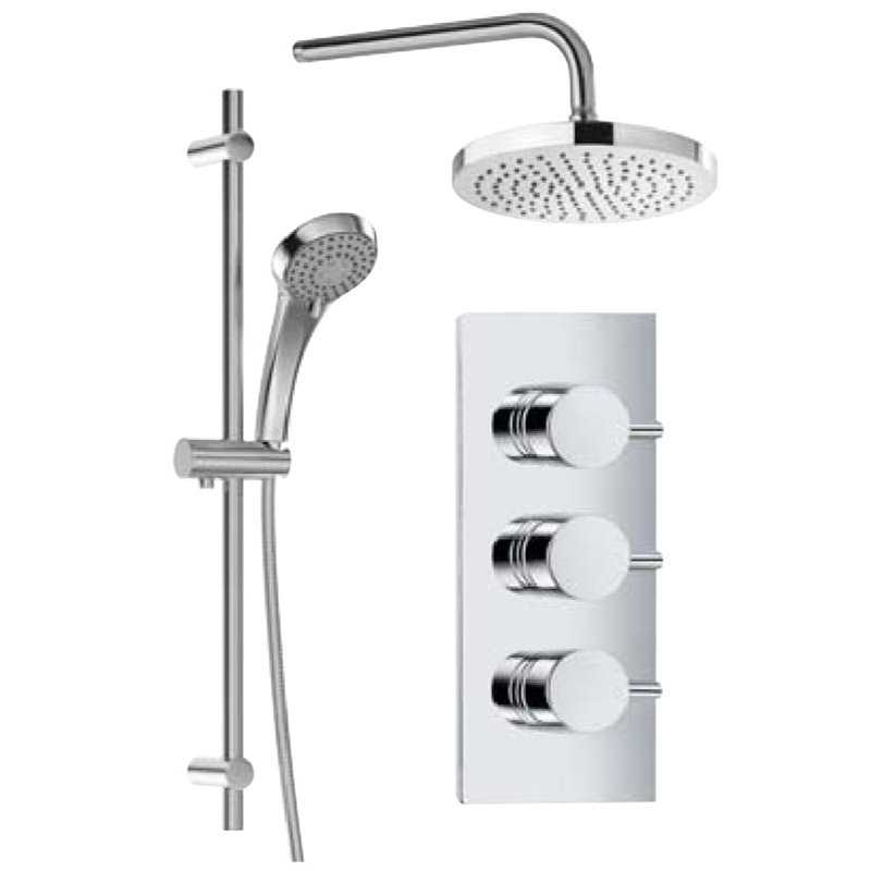 Bretton Park Vogue triple control concealed valve with Trento round head & arm and Nimes round slide rail kit