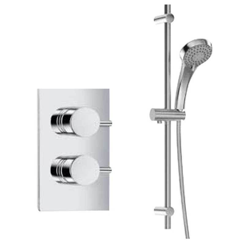 Bretton Park Vogue dual control concealed valve with Nimes round slide rail kit