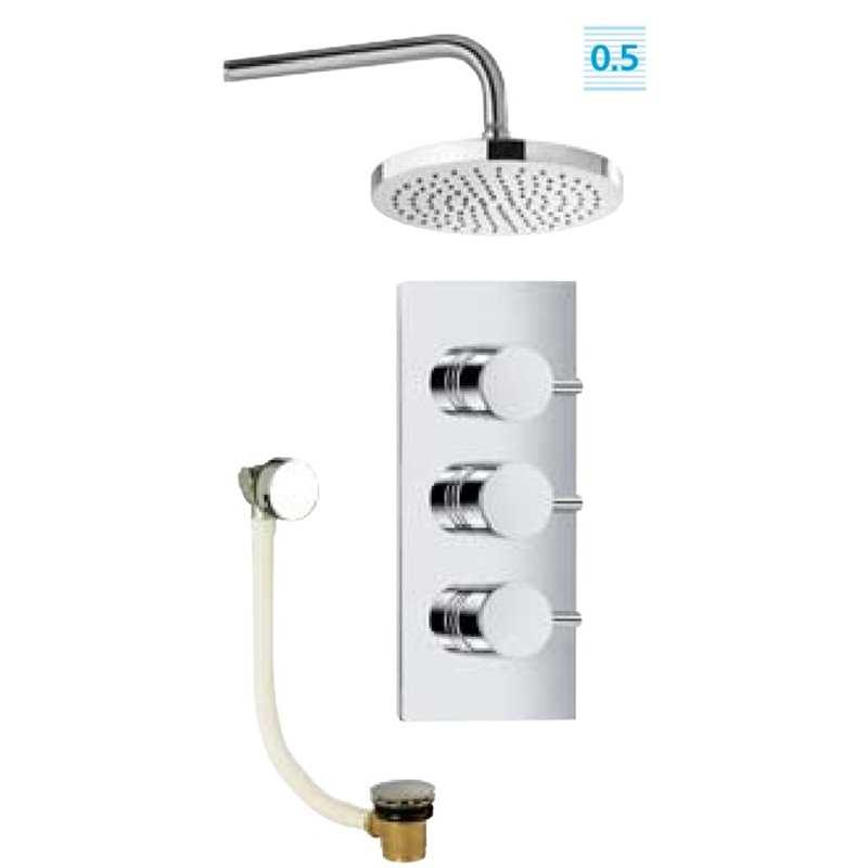 Bretton Park Vogue triple control concealed valve with trento round head & arm and bath overflow filler