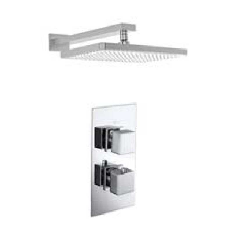 Bretton Park Square Twin thermostatic shower with square fixed head