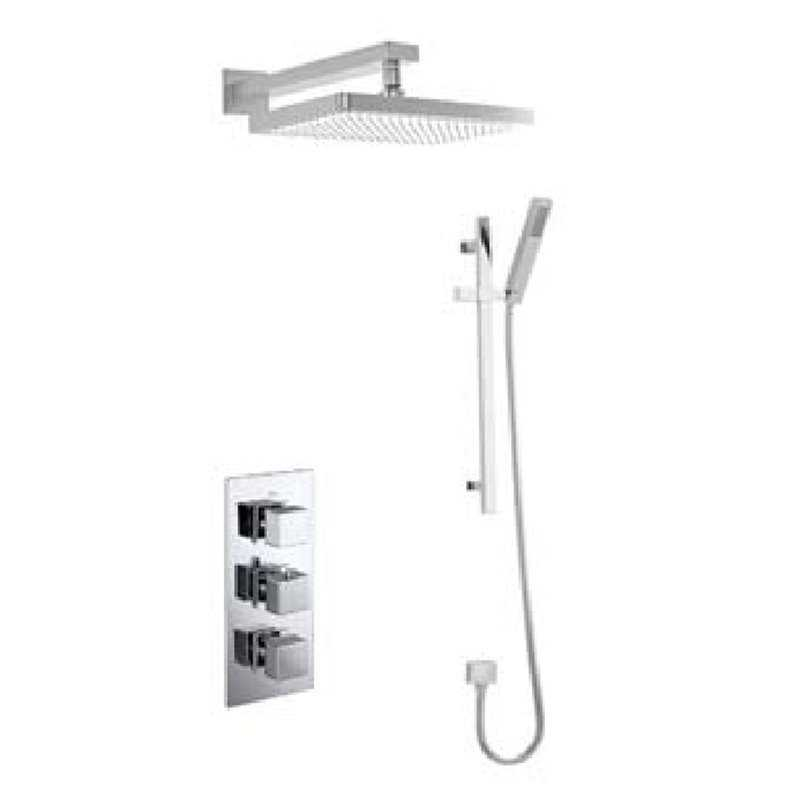 Bretton Park Square Triple thermostatic shower kit with slide rail & fixed head