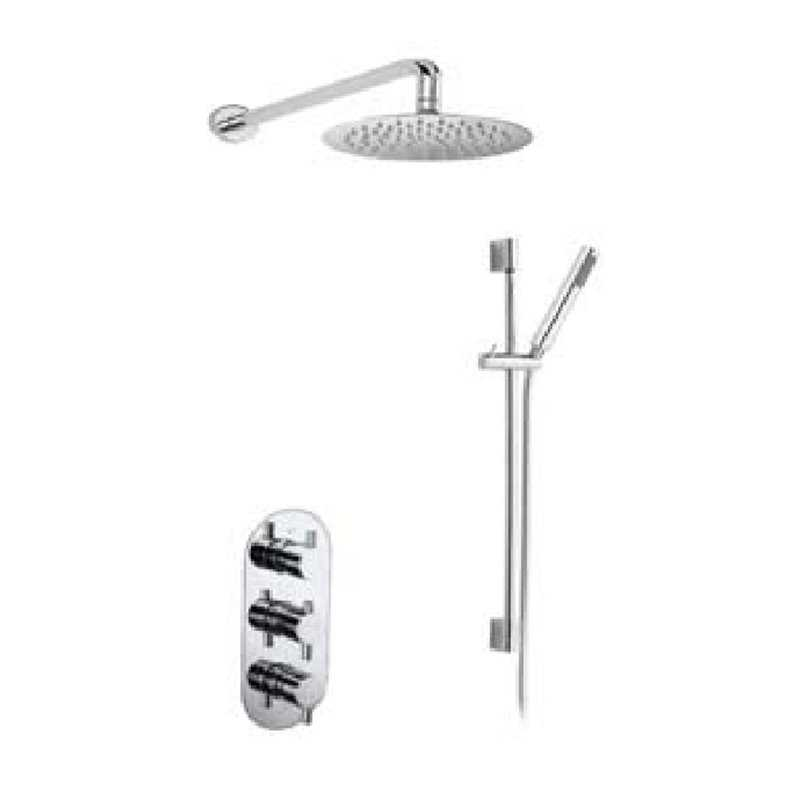 Bretton Park Round Triple thermostatic shower kit with slide rail & fixed head