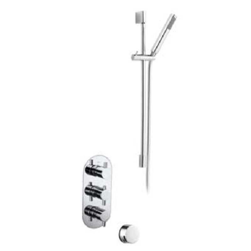 Bretton Park Round Triple thermostatic shower kit with slide rail & overflow filler