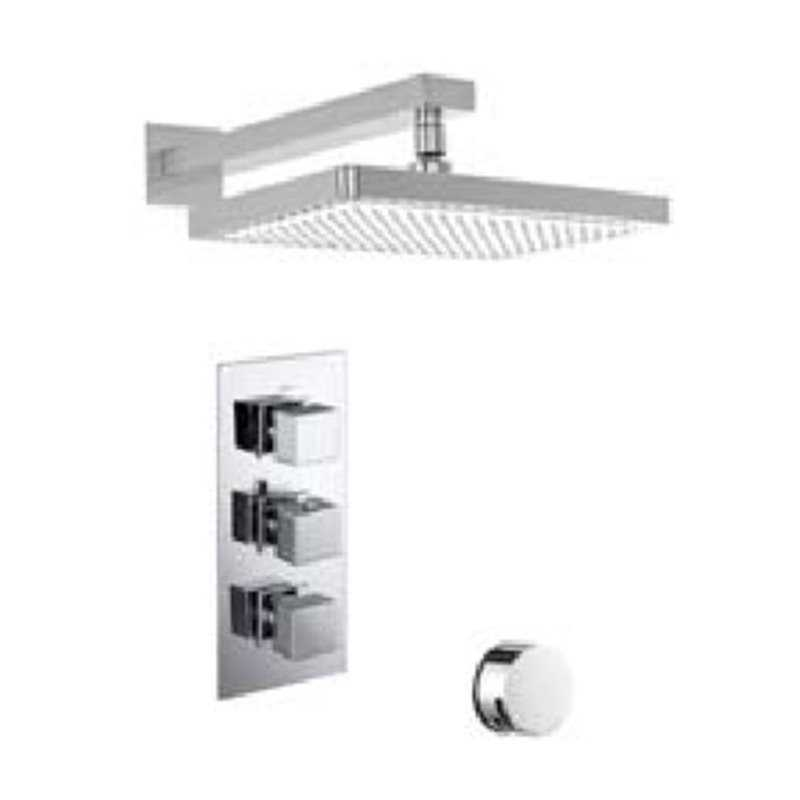 Bretton Park Square Triple thermostatic shower kit with square fixed head & overflow filler