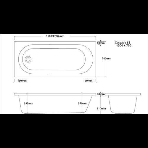 Oxfold Rounded single ended acrylic bath (no tap holes)