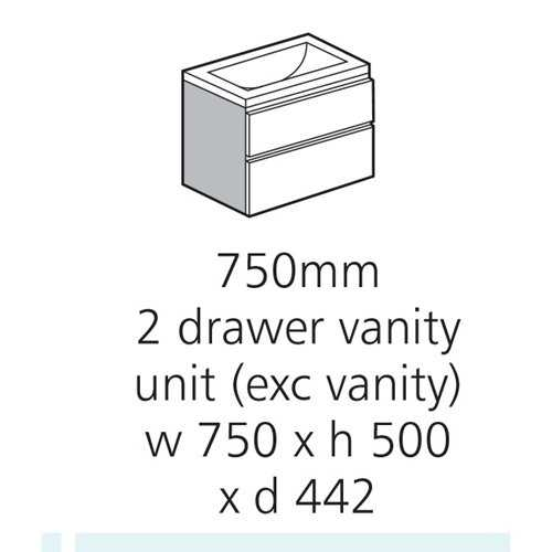 Bretton Park 2 Drawer Vanity Unit