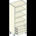 Single Door Fully Shelved 3 Shelf 3 External Drawer Unit - Bretton Park