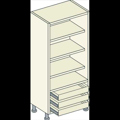 Bretton Park  Fully Shelved - 3 Shelf - 3 External Drawer Unit