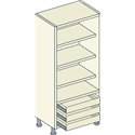 Bretton Park Fully Shelved - 3 Shelf - 3 External Drawer Unit