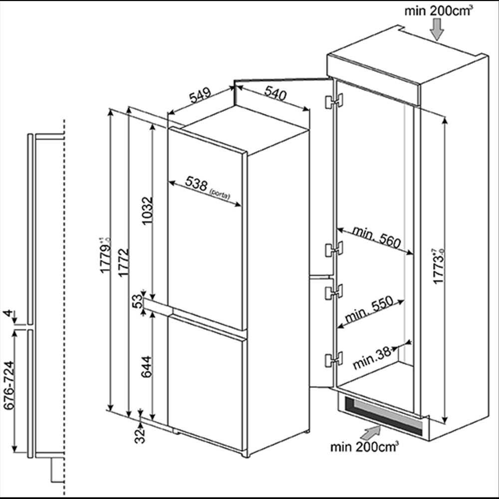 smeg in column integrated 60 40 fridge freezer. Black Bedroom Furniture Sets. Home Design Ideas