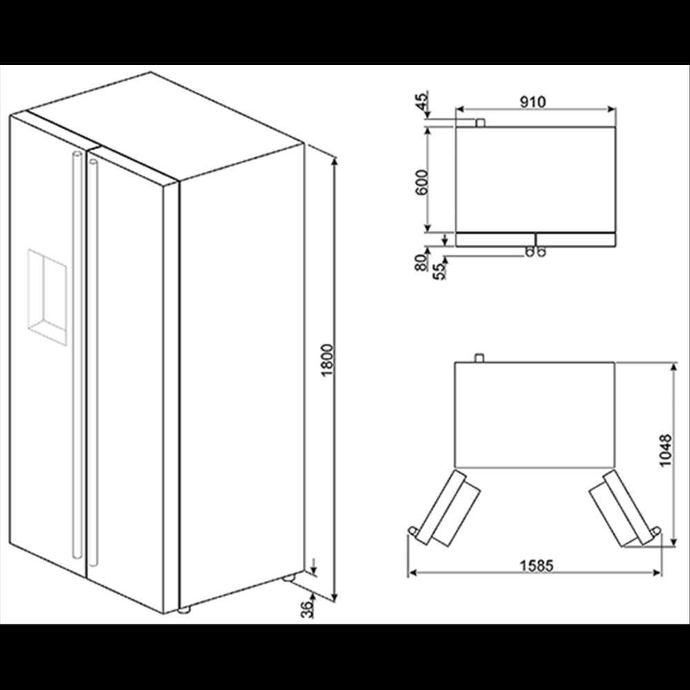 American Side By Side Fridge Freezer Part - 24: ... Smeg American Side-by-Side Fridge Freezer (Stainless Steel Door U0026 White  Sides