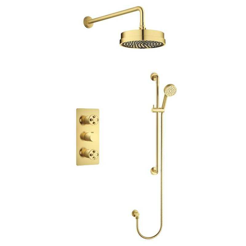 Industrial Brushed Gold Concealed Valve Shower Pack - Bretton Park
