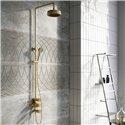 Industrial Brushed Gold Exposed Valve Shower Pack - Bretton Park
