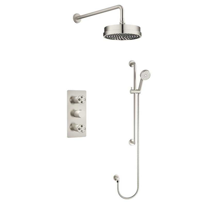 Industrial Brushed Nickel Concealed Valve Shower Pack - Bretton Park