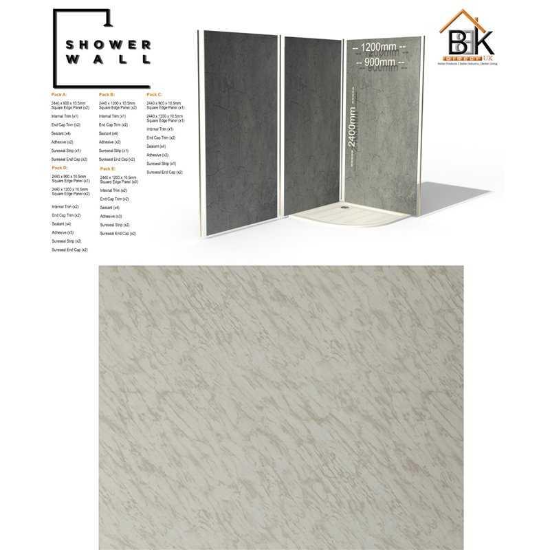 Showerwall Pack - Carrara Marble