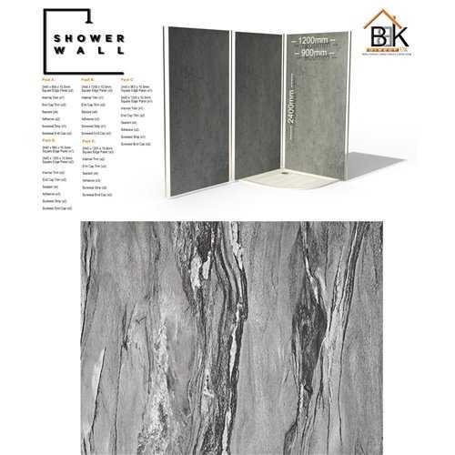 Showerwall Pack - Grey Volterra Texture