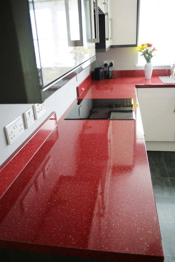 Red Laminate Worktop Long Run